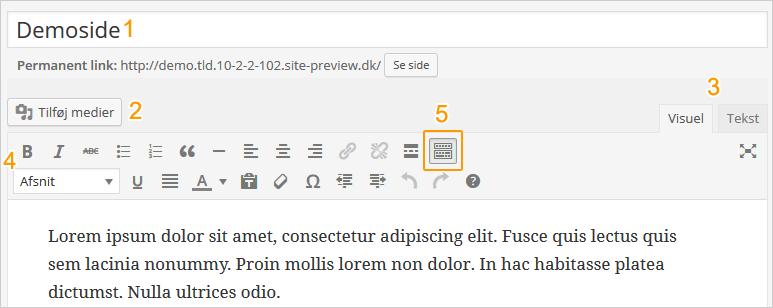 Wordpress tekst editor