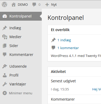 Wordpress kontrolpanel 1