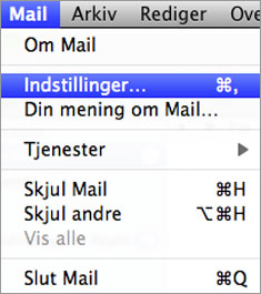 Åben mail programmet på din MAC
