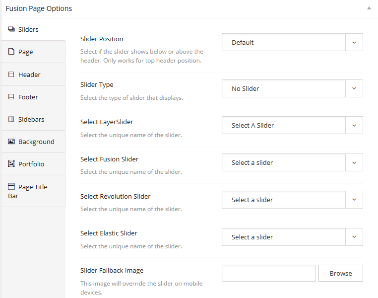 Fusion page options