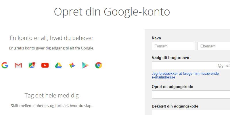 Opret Google konto