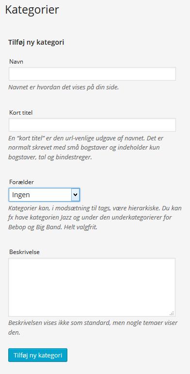 Opret WordPress kategori
