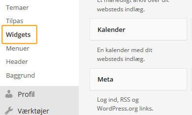 Opsætning af Widgest i WordPress