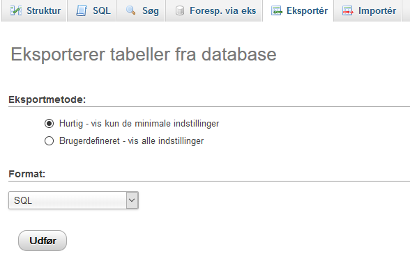 Eksporter database