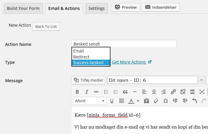 ninja Form - bekræft at mailen blev sendt korrekt